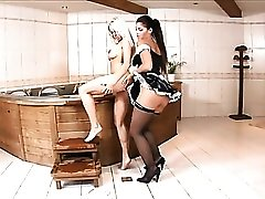 Sexy French maid eats out the rich wife