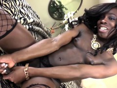 Black solo tranny jerking her bigcock
