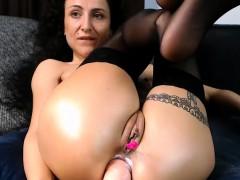 European brunette Lena in black stockings