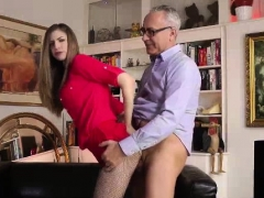 Older British guy strips and fucks babe in high heels