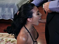 heather vahn shoves monster shaft balls deep into her throat