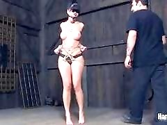 Big ass skank gets bound gagged and whipped hard BDSM