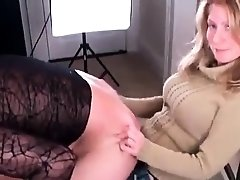 Dominant amateur milf pegging her horny slave from behind