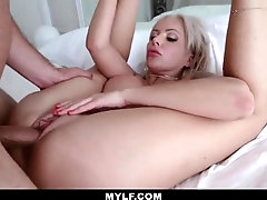 Racy blond penetrates a pool dude just for joy and gargles his beefstick to make him spew out