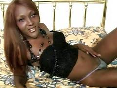 Black tgirl with curvy ass suck big cock while jerking off