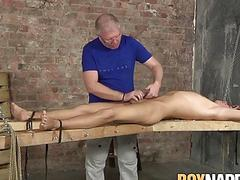 Kinky maledom jerking off younger cock which he craves for