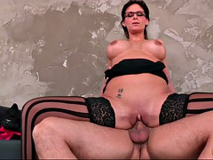 phoenix marie wearing stockings and glasses riding big hard rod