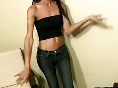 Asian shemale shows her tasty small tits long dick package