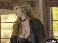 Curvy wife fucks a younger guy while her husband is around