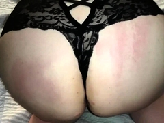Amateur wife in lingerie takes a fat dick up her ass in POV