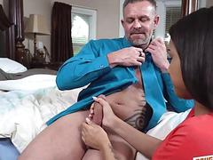 Nicole goes on top of that matured cock