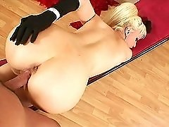 Latina in opera gloves fucked up the ass in doggy style