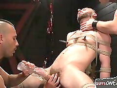 Stud gets edged and controlled by maledom duo
