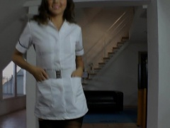 Teenage nurse doggystyle drilled by senior