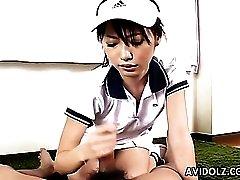 Cute tennis babe blows a horny guy
