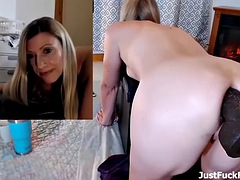 hot blonde milf masturbates with a huge bbc toy