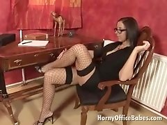 excited office babe in glasses