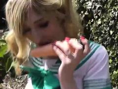 British blonde Jessica Jensen enjoys dildo fucking