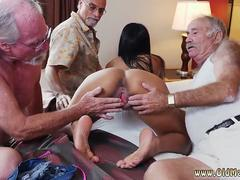 Old skinny granny and couple first time Staycation with a Latin Hottie