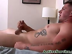 Solo army hunk cumming during his debut