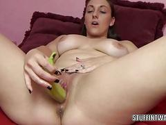 Melanie Hicks is making herself cum with fruit