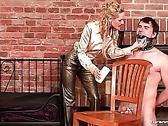 His bound cock and balls take pain from mistress
