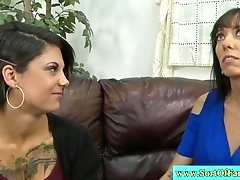 Tattooed stepmom and teen suck together