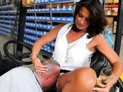 Stunning mature brunette unleashes her foot fetish desires