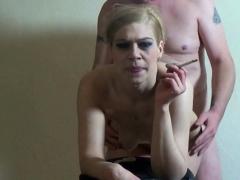 amateur german ugly smoking blonde blowjob and facial