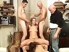 Group sex includes fun anal and an Asian