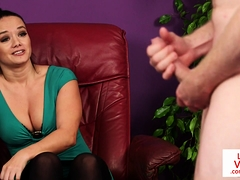 CFNM milf voyeur instructing tugging guy