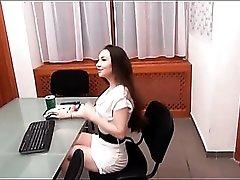 Sexy tease in a little white dress sucks dick