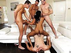 Four white guys gangbang black slut Jenna Foxx