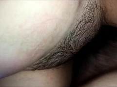 Hot wife with big boobs takes a hard cock in her hairy peach