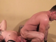Barebacked buff stud cums