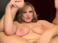 Blonde BBW masturbating on webcam with fuckingmachine