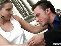 Secretary slut in short skirt blows her boss