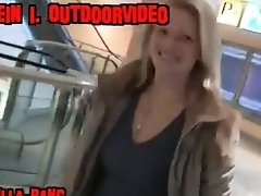 German blonde is doing a blowjob in a shopping centre