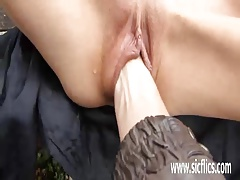 Fisting hot milfs greedy pussy in public