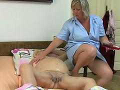 Fat bbw granny have sex with chubby girl and strap
