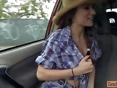 Busty cowgirl Dillion Carter banged at the back of the car