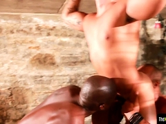 Bound stud assfucked by muscular ebony hunks