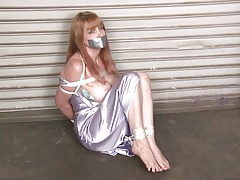 MILF tied in nightgown standing barefooted