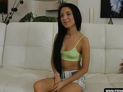 Shooting a teen anal casting with Sandra