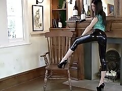 lilly: turquoise latex top & black latex capri pants