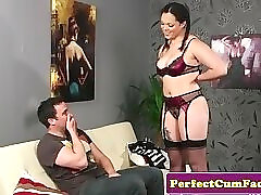 Busty UK babe in stockings gets facialized