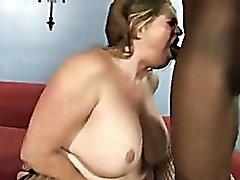 Shaved fat girl taking black cock
