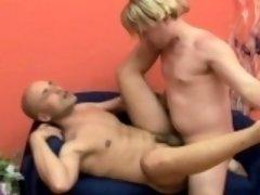 Blonde hunk buries his hard prick deep inside a bald headed stud's ass