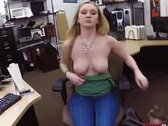 Blonde babe fucked by nasty pawn keeper