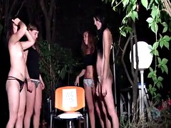 4 sexy mistresses uses a man as human toilet - the wc man